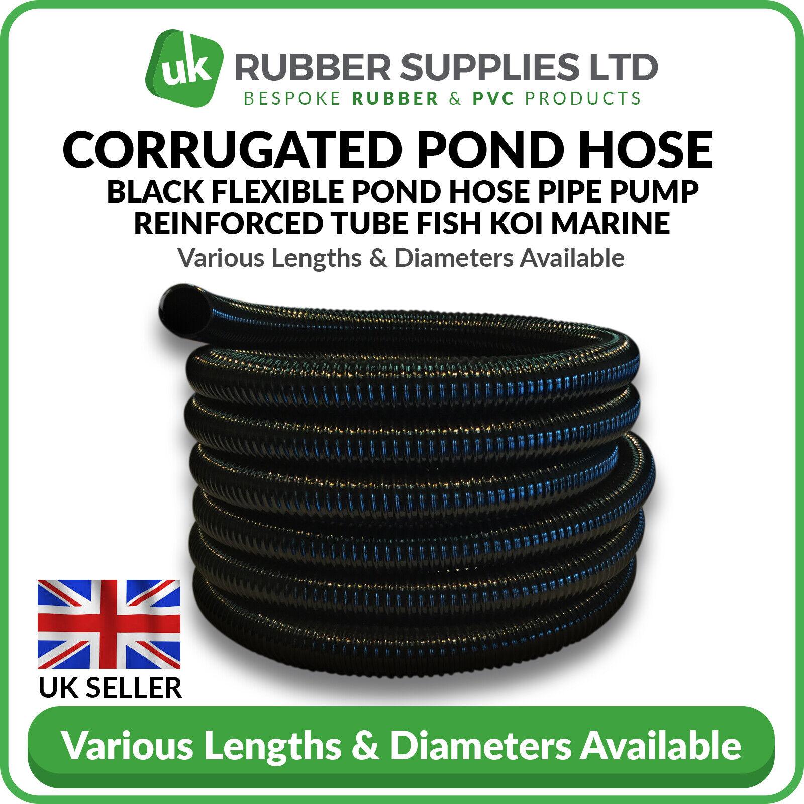 Black Corrugated Flexible Pond Hose Pipe Pump Reinforced Tube Fish Koi Marine