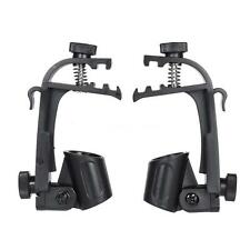 2pcs Clamp Clip On Drum Rim Microphone Mic Mount Holder Black L8M2