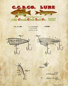 Fishing-Lure-Patent-Art-Print-Vintage-Creek-Chub-Letterhead-Cabin-Wall-Decor