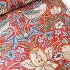 William Morris Strawberry Thief Fabric Red 150cm wide, Sandersons