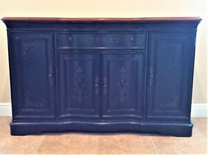 Details about Macy\'s Hand Painted Credenza, side table, buffet table,  dining room side table
