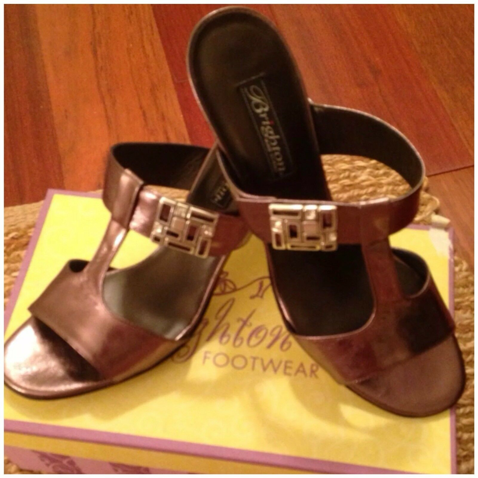 NIB Brighton red MERCURY METALLIC Sandals (10M) ITALIAN Heels BLING Bronze