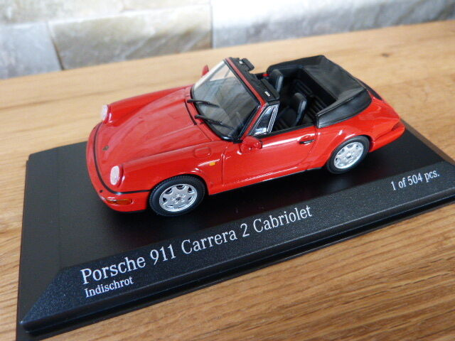 ORIGINALI PORSCHE 911 964 Carrera 2 Cabriolet 1990 ROSSO Minichamps modello di auto 1 43