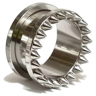 Pair of Screw Fit Stainless Steel Flesh Ear Tunnels Plugs Ear Gauges -  Spikes