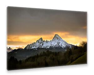 Postereck-Leinwand-1489-Watzmann-Berg-Landschaft-Natur-Schnee-Wald-Baeume