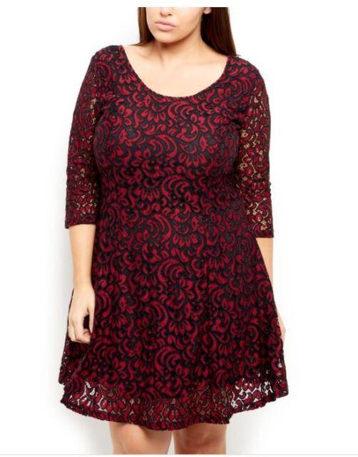 SAMYA Burgundy Lace PAISLEY Print SKATER 3/4 Sleeve Dress Size 20 & 24 PLUS SIZE