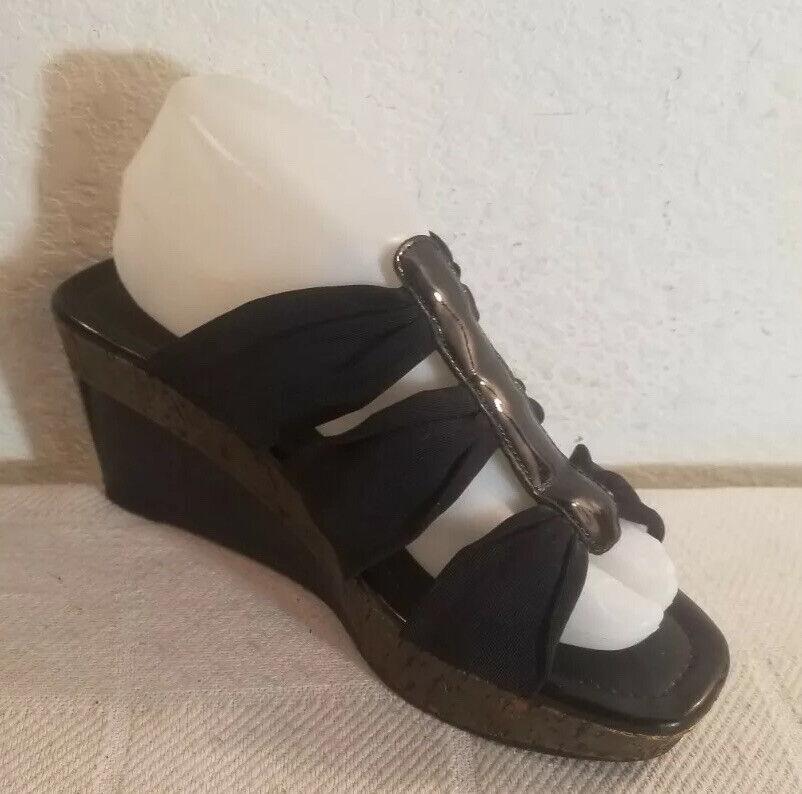 Arturo Chiang Sz 8.5 Black Microfiber Patent Leather Wedge Sandals Heels Shoes