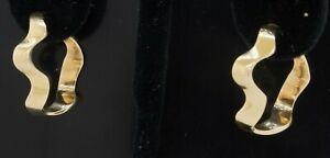 "Designer signed heavy 14K gold 1"" diameter wavy abstract hoop earrings"
