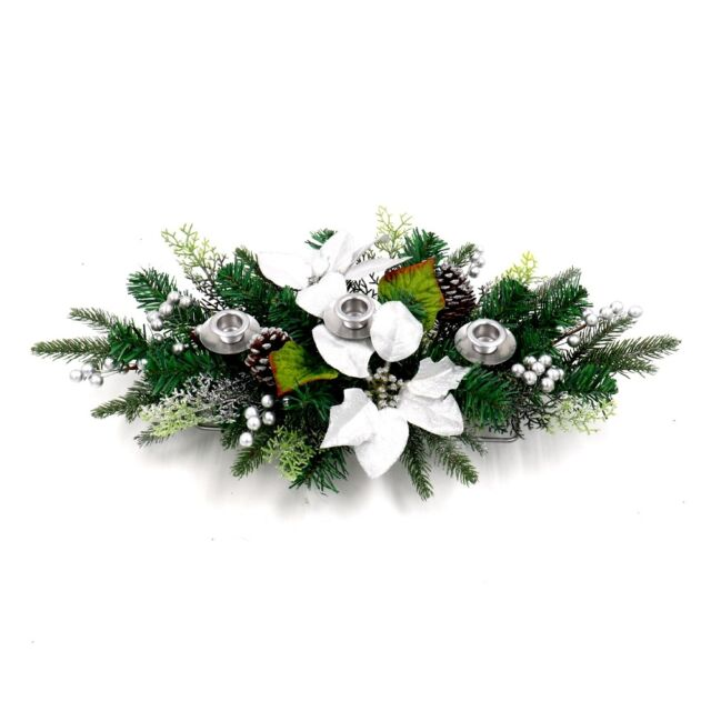 Aleko Christmas Garland Swag Centerpiece With 3 Candle Holders Green And Silver