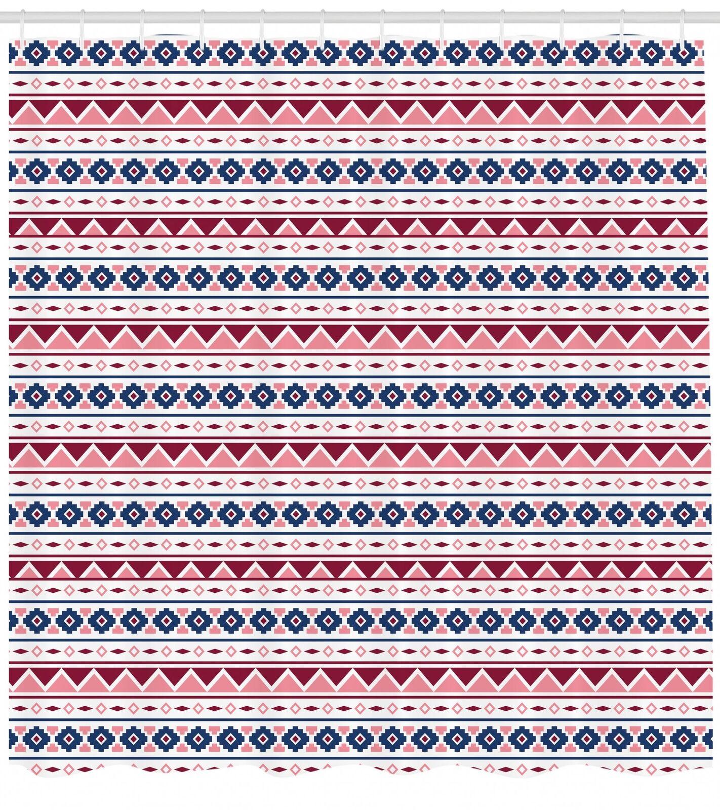 Timeless Oriental Pattern Shower Curtain Fabric Decor Set with Hooks 4 Größes