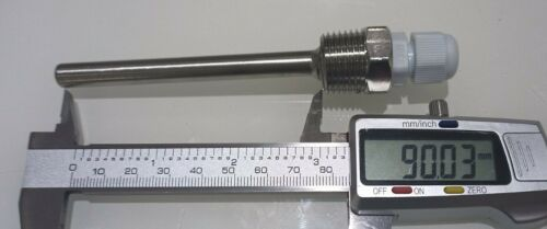 """Stainless st Thermowell 1//2/""""NPT Threads 90mm Temperature Sensor pocket sleeve"""