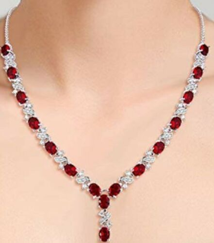 White gold finish red ruby and created diamonds Necklace free postage