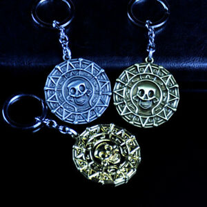 Pirates-of-the-Caribbean-Aztec-Coin-Alloy-Key-Chains-Keychain-Keyfob-Keyring-New
