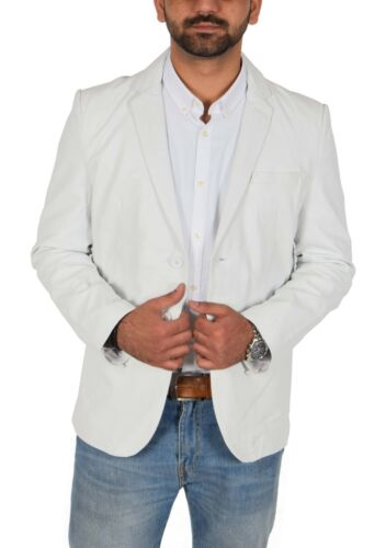 Mens Fitted Cut Leather Blazer Jacket Two Button Notched Lapel Collar White