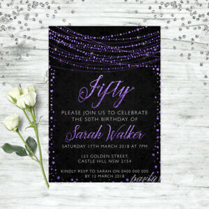 50TH-BIRTHDAY-INVITATIONS-AGE-FIFTY-PERSONALISED-PARTY-SUPPLIES-INVITE-PURPLE