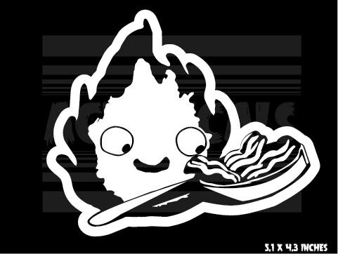 Howls Moving Castle Ghibli Calcifer Anime Vinyl decal sticker Bacon