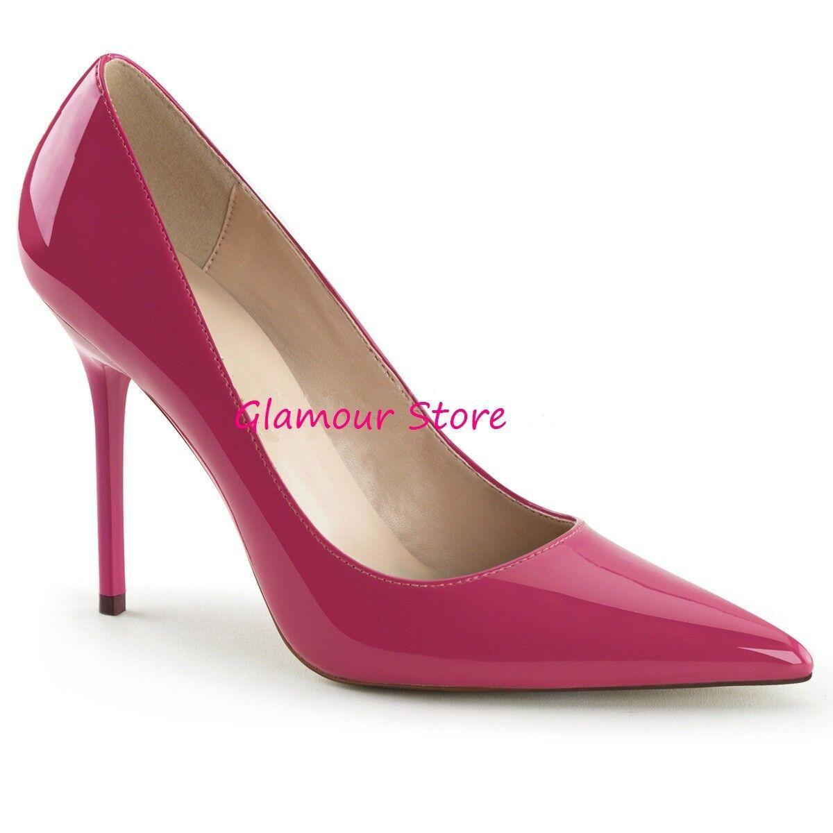 Sexy DECOLTE' a punta tacco 10 ROSA ACCESO LUCIDO dal 35 al 46 scarpe GLAMOUR