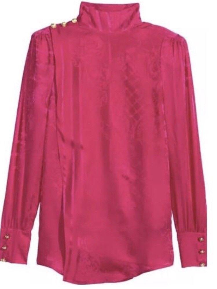 Balmain H&M Jacquard weave Silk Blouse Shirt Pink Size US 6