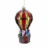 Kurt Adler 5-1/2-inch Noble Gems Glass Santa In Hot Air Balloon Ornament, New, F on Sale
