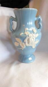 Vintage-Fantastic-Weller-Pottery-Blue-with-Cameo-Rose-Vase