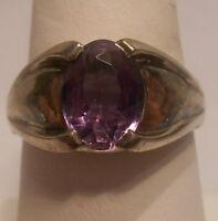 Vintage Antique Estate~Amethyst 925 Sterling Silver Ridged Band Ring Size 9