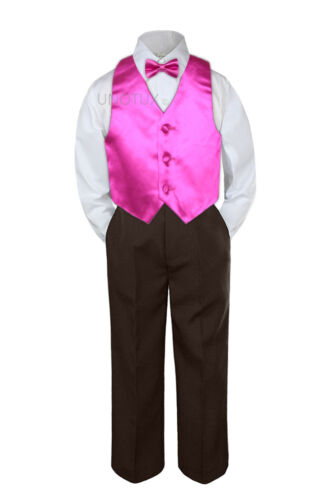 23 Color 4pc Boys Suits Vest Bow Tie Set Baby Toddler Kid Formal Brown Pants S-7