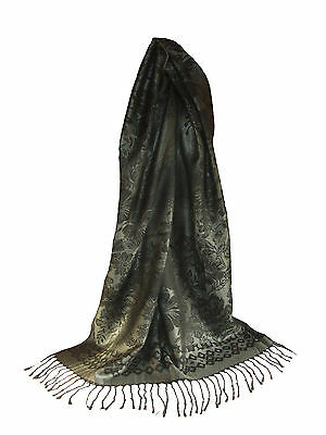 écharpe étole pashmina 70/% et soie 30/% couleur marron foncé Accessoire mode