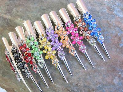 "Rhinestone Flower Hair Claw Clip Alligator Meta Clamp Color Choice 5"" Length Elegant In Smell Fashion Jewelry"