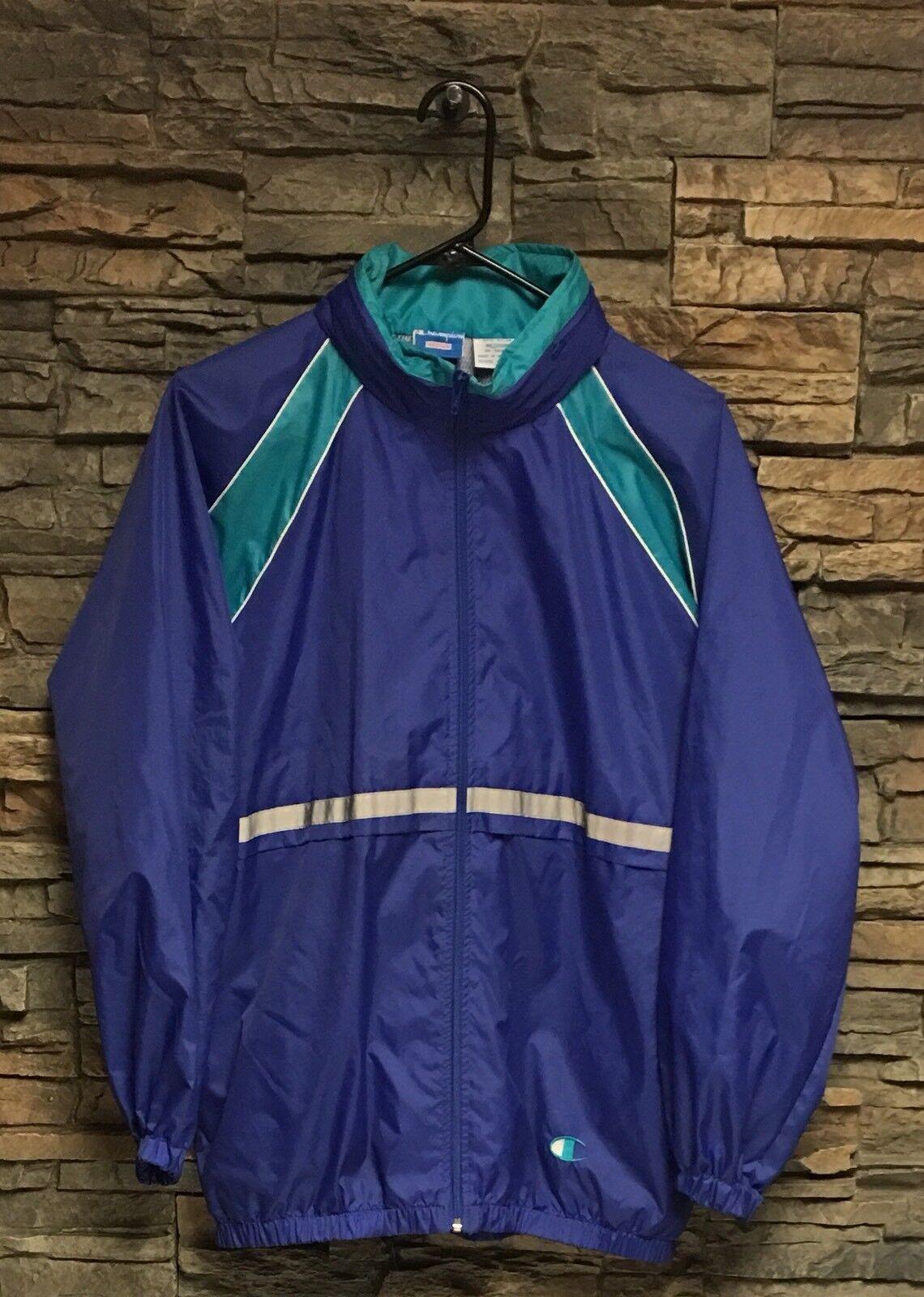 Mens Vtg Champion Windbreaker 80's 90's Reflective Line HideHood Vented bluee Med