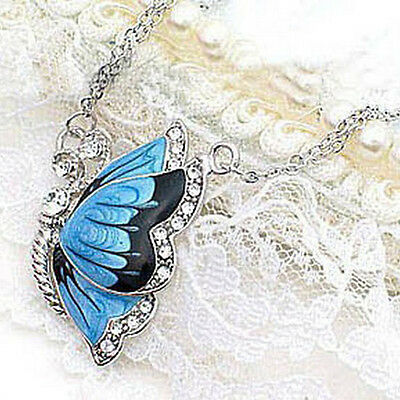 Women New Fashion Blue Butterfly Crystal Silver Rhinestone Necklace Pendant Gif