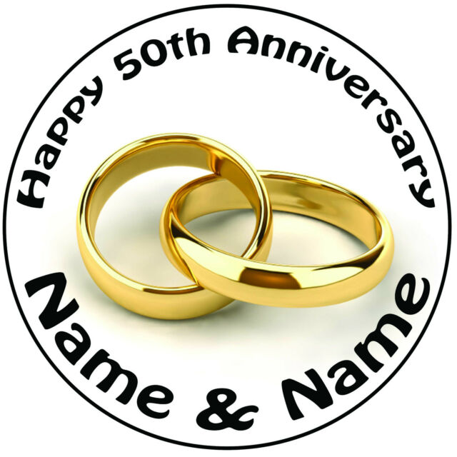 Personalised 50th Golden Rings Wedding Anniversary Round 8\