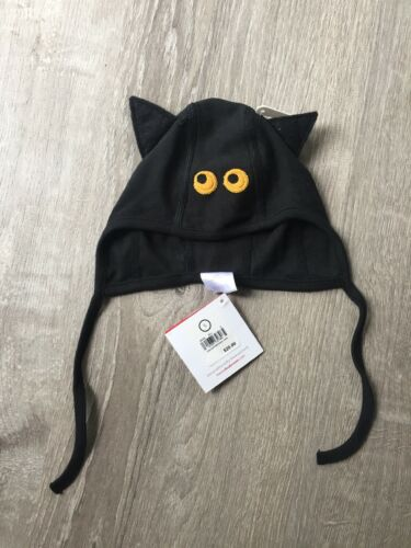 New Unisex Hanna Andersson Hat Black Bat Ties Cotton Childrens Small 1-3 Years