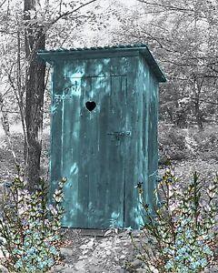 teal gray wall art photo print vintage outhouse home bath decor