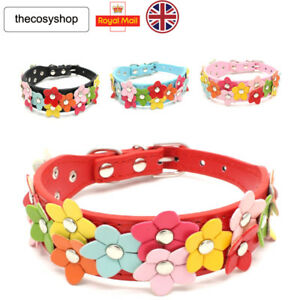 New-Beautiful-Flowers-Cat-Dog-Puppy-Collar-8-Colours-Available-PU-Leather