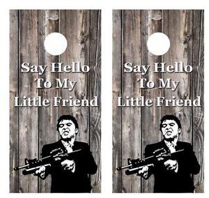 Tony Montana Say Hello To My Little Friend Cornhole Board Wraps