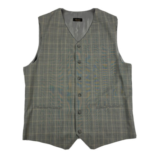 Elevee Gray Checked Wool Waistcoat Size Mens 46L M
