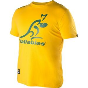 Rugby Wallabies Gold Logo Mens Supporter Tee T Shirt, Size S-3XL