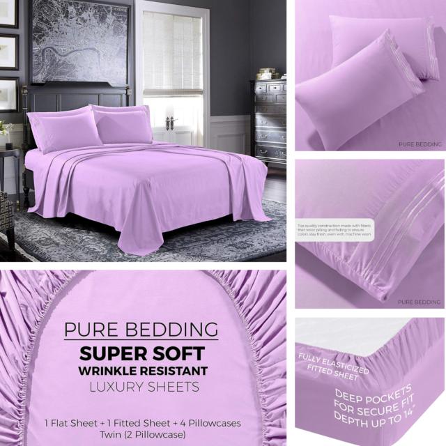 Super Soft 4 Piece Bed Sheet Set Deep Pocket Bedding Hypoallergenic Queen Size