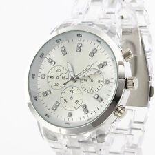 Vintage CRYSTAL CLEAR Sport Quartz Lady Girl Women Wrist Watch Bracelet 9538