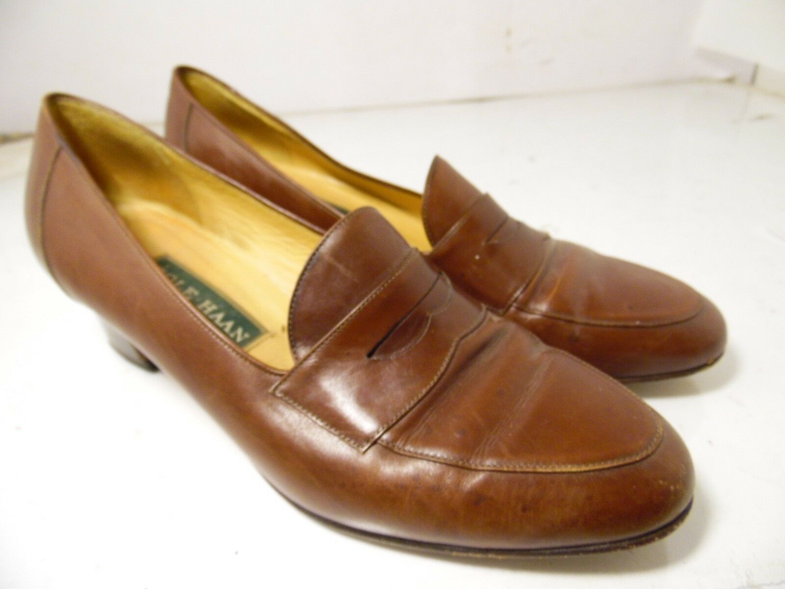Cole Haan Slip Brown Leather Kitten Heels Slip Haan On Womens Size 6.5 B Made in Italy 2b76eb
