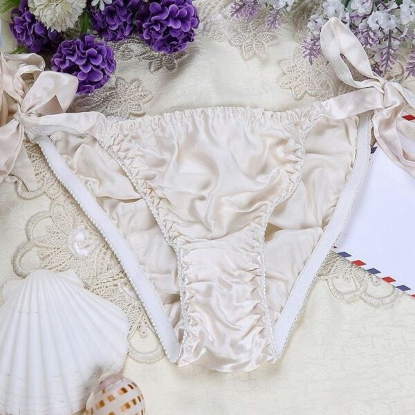 Damen Satin Seide Slip seitlich gebunden Bikini Höschen Unterhosen Unterwäsche