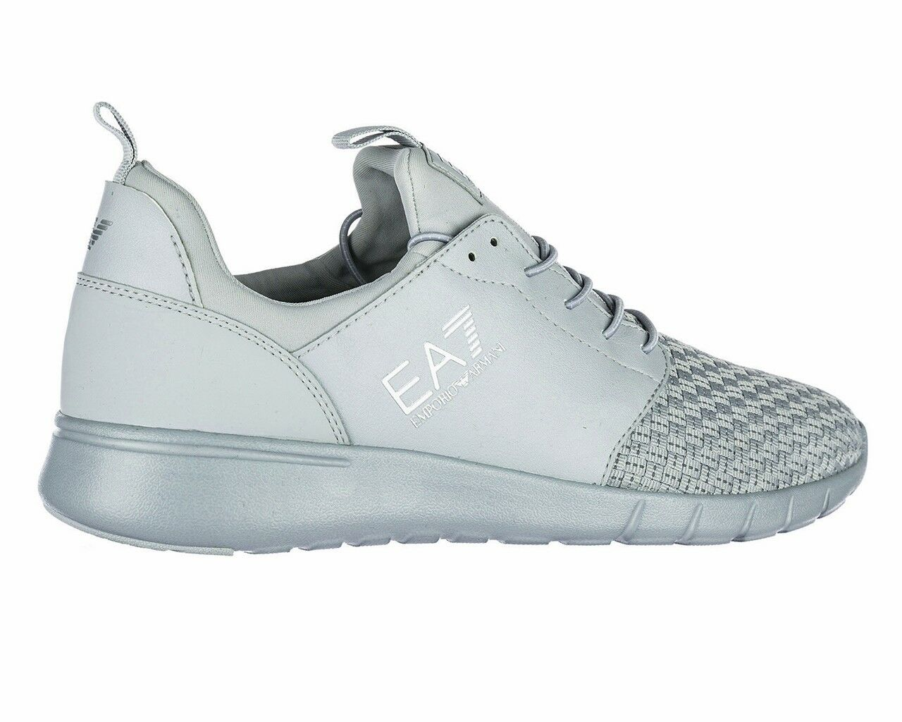 Sale Emporio Armani 248054 8P299 Simple Racer Woven EA7 Mens Trainers Grey