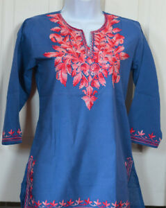 Cotton-Tunic-Top-Kurti-Blouse-Blue-Color-with-pink-Embroidery-from-India