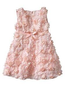 NWT GAP Pink Cameo Rosette Party Dress Decorative Bow Ribbon Belt NEW Girls 3T