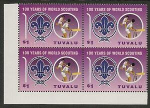TUVALU-2007-SCOUT-CENTENARY-Single-CRICKET-Block-4-MNH