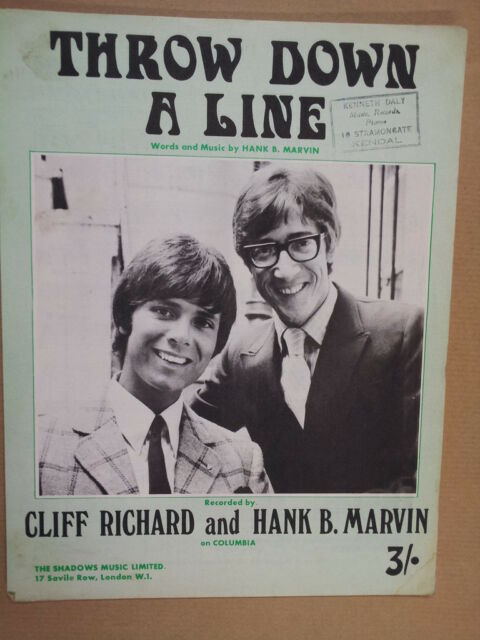 song sheet THROW DOWN A LINE Cliff Richard Hank  Marvin