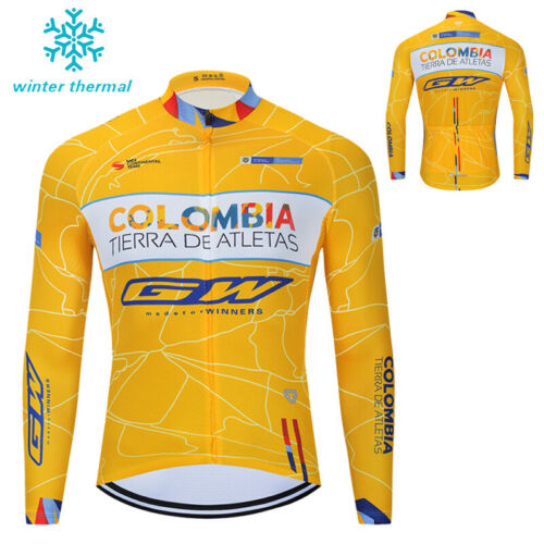 Men/'s Fleece Thermal Winter Cycling Long Jersey Bike Jacket Maillots Uniform Pro