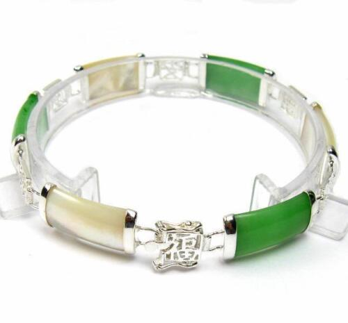 "7.5/"" NATURAL GREEN JADE /& MOTHER OF PEARL 925 SILVER BRACELET W// SYMBOL"