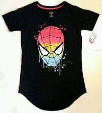MEDIUM Marvel Comics Clothing: Women's Rainbow Spider-Man Black T-Shirt MD