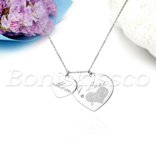 """Women/'s Glossy Stainless Steel /""""I Love You Mom/"""" Pendant Necklace Mother/'s Gift"""